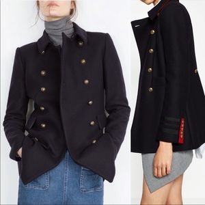 Zara short double-breasted military wool jacket S